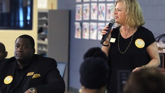 Brown Deer Schools Superintendent Deb Kerr speaks at a community event in September 2017. Kerr announced last summer she would retire after this school year, after serving 13 years as the district's superintendent. The school board has narrowed its search for her replacement to four candidates.