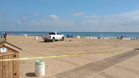 The scene on Thursday after a truck hit a woman on the beach at the Virginia Beach Oceanfront.