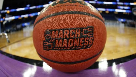 A general view of a March Madness basketball prior to a game between Maryland and Xavier in the first round of the 2017 NCAA tournament at Amway Center.