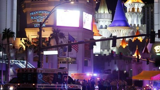 Aftermath of Las Vegas massacre, the deadliest mass shooting in U.S. history.