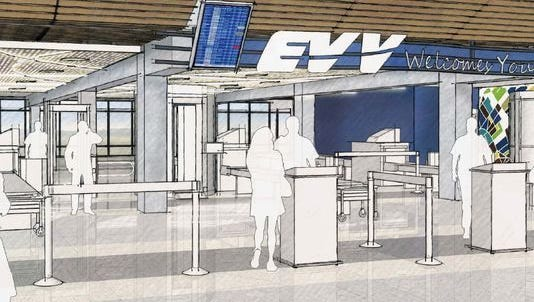 An earlier rendering of the planned terminal renovation at Evansville Regional Airport.