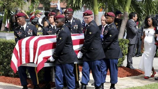 Funeral of Sgt. La David Johnson on Oct. 21 in Hollywood, Florida. Johnson was killed during attack in Niger.
