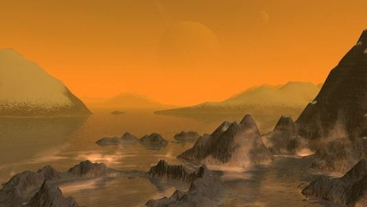 In this artist's rendering of Titan, methane vapors are seen around an ancient crater and nearby rocky cliffs. In the distance, mountains of rock and ice rise from a sea of ethanol. Barely visible through the thick orange atmosphere are Saturn and another of her moons, Rhea.