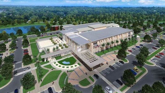 Artist depiction of the three-story, 196,000 square foot Veterans Affairs Clinic in Tallahassee.