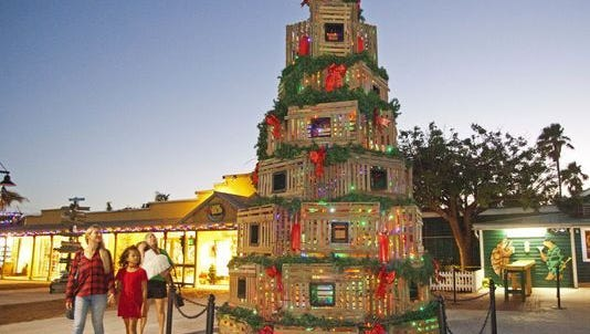 Christmas tree made of lobster traps in Key West.