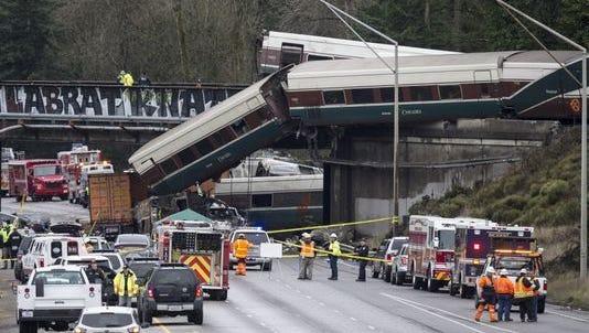 Amtrak train derails on Dec. 18 in DuPont, Wash.
