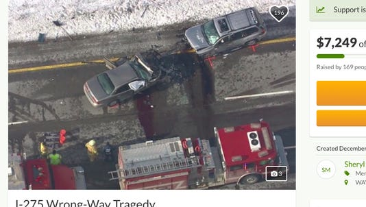 This photo of the double-fatality crash scene was posted on a GoFundMe account.