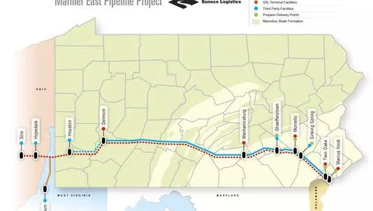 The proposed route of the Mariner East pipeline.