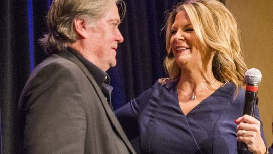 Steve Bannon appears at Kelli Ward's Senate campaign kickoff in October 2017.