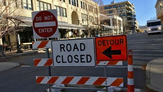 Battery Park Avenue and Page Avenue by the Grove Arcade will return to two-way traffic on Tuesday, Jan. 9.
