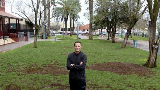 Todd Franklin stands in Carnegie Park
