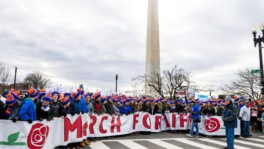 People prepare to march at annual March for Life rally in Washington D.C.