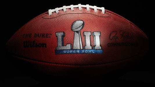 An official ball for the NFL Super Bowl LII football game from the Wilson Sporting Goods Co. in Ada, Ohio, Monday, Jan. 22, 2018.