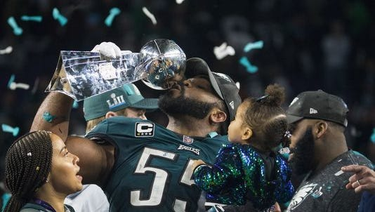 Eagles celebrate winning the Super Bowl.