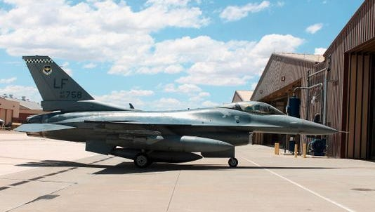 In this 2015 file photo, an F-16 Fighting Falcon from the 314th Fighter Squadron taxis toward its new home in the hangars at Holloman.