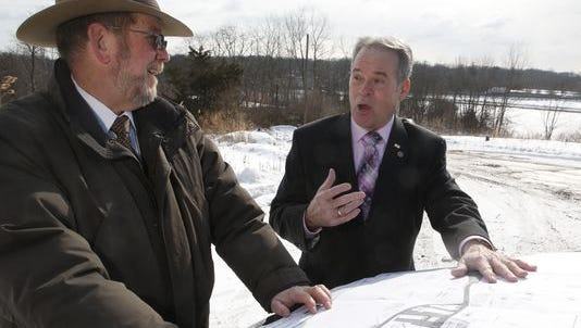 """Rockland Highway Department Superintendent Charles """"Skip"""" Vezzetti and County Executive Ed Day at the highway department site in 2015"""