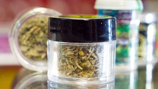"""Small jars of synthetic drug commonly nicknamed """"Spice.''"""