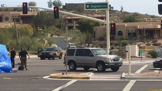 The scene after an SUV struck four pedestrians in Fountain Hills on March 13, 2018. Three people initially were killed. The fourth person died in Canada on June 12, officials said.