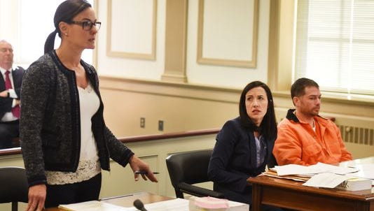In March 2018 in Superior Court, from left, Morris County Assistant Prosecutor Erin Callahan, defense lawyer Liz Cervenak and defendant Richard Spielman.