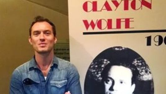 An image of Jude Law from his visit to the Thomas Wolfe house this summer.