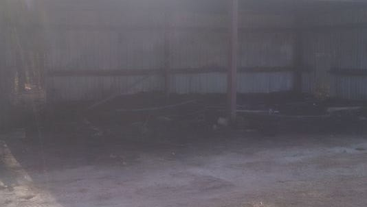The aftermath of a fire at an animal barn in Great Adventure that authorities believe may have been arson.