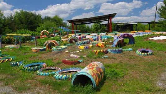 The Tire Field, an attraction inside Greek's Playland, Monroe Township