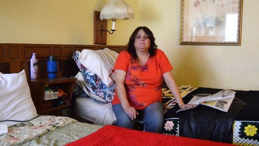 Judy Wirth, who is being evicted from the Arbor Inn in Marshall Township, is looking for both employment and a place for her and her daughter to live.
