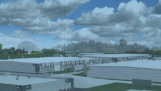 A digital rendering of Microsoft's $1.1 billion Alluvion data center project headed to West Des Moines.