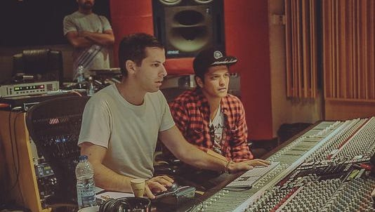 "Mark Ronson, left, and Bruno Mars in the studio. ""Uptown Special"" is due out January 27."