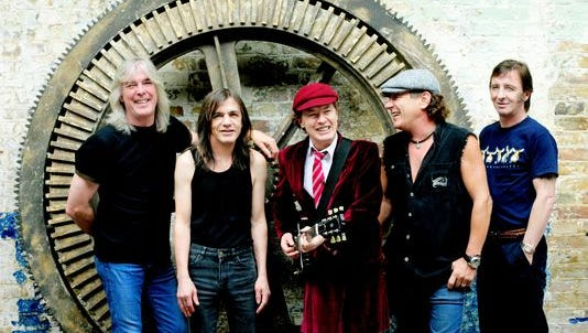 Members of AC/DC, left to right: Cliff Williams, Malcolm Young, Angus Young, Brian Johnson and Phil Rudd.
