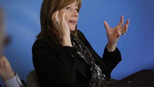 General Motors CEO Mary Barra speaks with the editorial board of the Detroit Free Press in Detroit on Monday, Oct. 27, 2014.