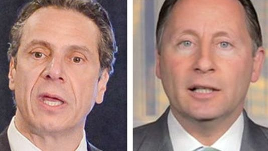Gov. Andrew Cuomo, left, faces Republican challenger, Westchester County Executive Rob Astorino, in the November elections.