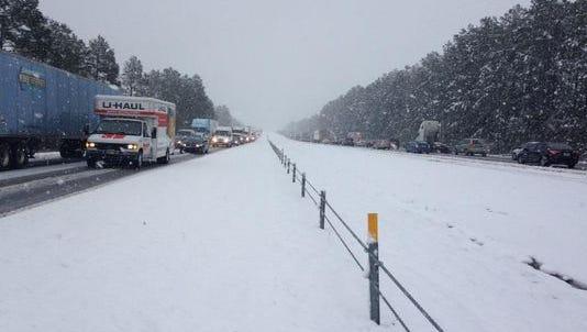 Snow on Interstate 20 in South Carolina