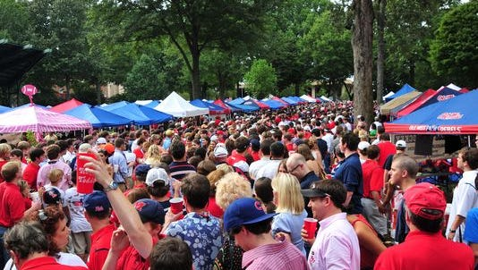Ole Miss' Grove is filled with Rebels fans each game day.