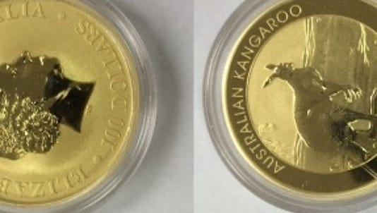 Gold coin left in Salvation Army kettle in North Carolina.