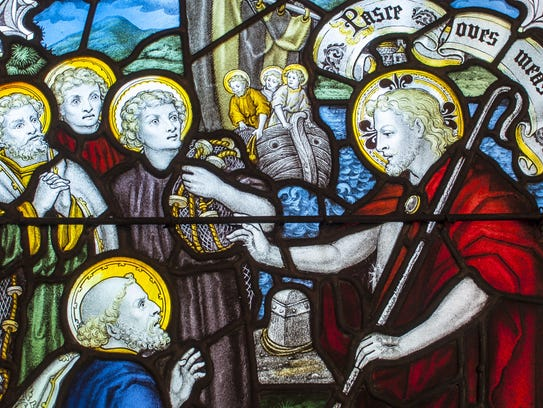 A detail of a stained glass window in the chapel of