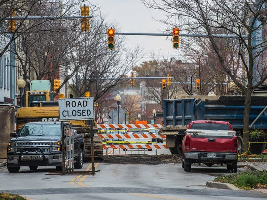 Construction at the intersection of Eighth and Main