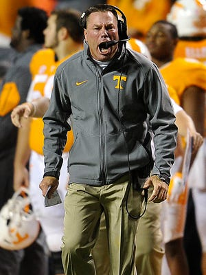 Coach Butch Jones isn't happy with the flow of the game as Tennessee plays Arkansas  on Oct. 3, 2015.