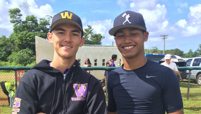 Kenji McCarthy, left, and Isaiah Nauta helped lead the GW Geckos over the FD Friars and into the IIAAG Baseball League title game against the Titans.