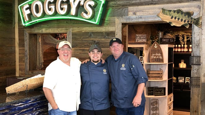 (From left to right) Brent Swadley, Koltan Swadley, and Curt Breuklander gather for a picture on the opening day of Swadley's Foggy Bottom Kitchen. The restaurant will replace the former Blue Heron Restaurant at the Lake Murray State Park lodge.