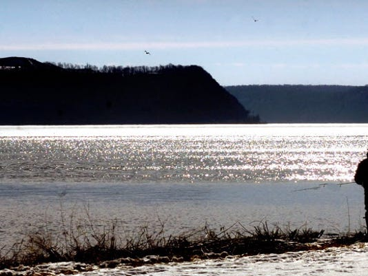 A view across the Susquehanna River from Long Level includes the wind turbines on Turkey Point. The turbines are on the Frey Farm Landfill, which could be built higher under a proposed expansion.