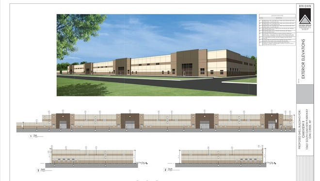 The proposed development, 10651 S. Oakview Parkway, features a 137,000-square-foot multitenant industrial building with 42 loading docks on the west side and 49 stalls for semi-trailer parking at the southern end.