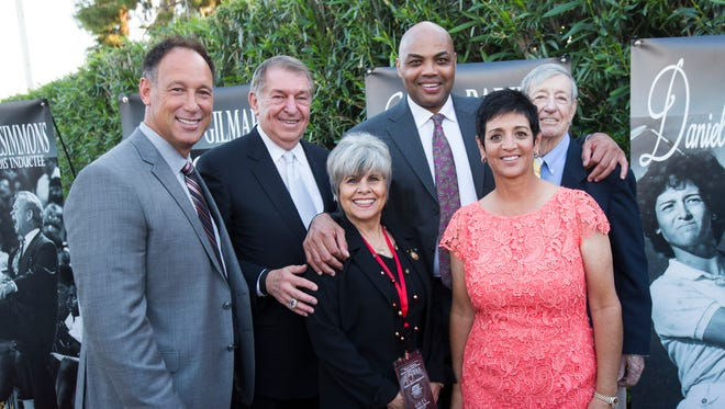 The 2015 Arizona Sports Hall of Fame inductees: Luis Gonzalez, late Cotton Fitzsimmons (represented by Jerry Colangelo and his wife JoAnn Fitzsimmons), Charles Barkley, Danielle Ammaccapane and Joe Gilmartin.