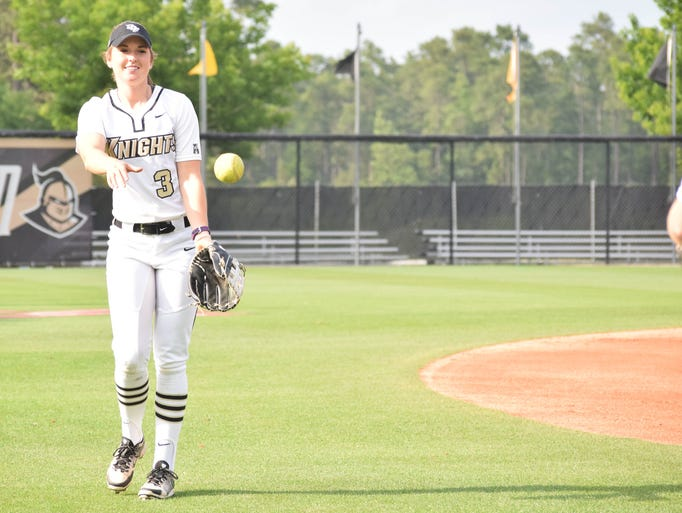UCF outfielder Andrea Neswiacheny warms up with a teammate