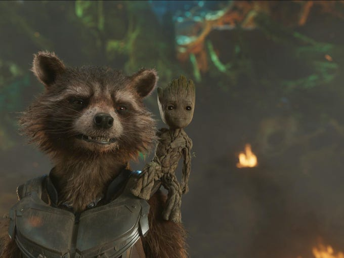 "Rocket (Voiced by Bradley Cooper) and Groot in ""Guardians"