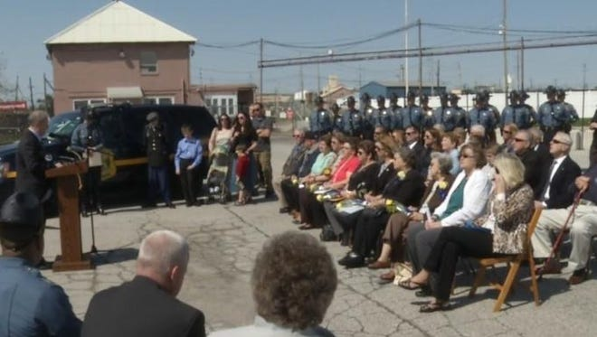 Delaware State Police, state officials, family and friends gathered Wednesday near Marcus Hook, Pennsylvania, to dedicate a sign honoring Trooper First Class Harold B. Rupert, killed there in the line of duty in 1962.