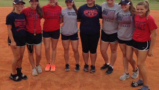 The Master's Academy softball team has four sets of relatives, including (from left) cousins Madison Dean and Kaitlyn Cutshall, cousins Chloe Fowler and Carina Fowler, sisters Courtney Hibbard and Britney Hibbard, and sisters Lindsey Rohm and Sidney Rohm.