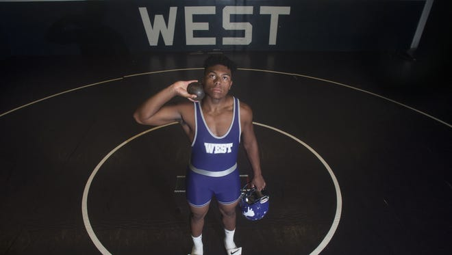 Cherry Hill West senior Lorenzo Hernandez thrived on the gridiron, wrestling mat and reached states for shot put in 2017, helping him earn the honor of Courier-Post boys' Athlete of the Year.