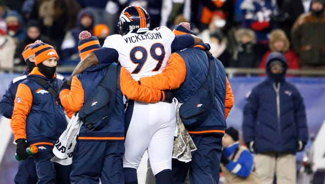 A hip injury Sunday ended up finishing the season of Broncos DT Kevin Vickerson.