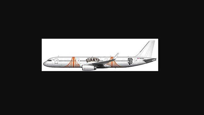 This image provided by Alaska Airlines shows what its new San Francisco Giants-themed Airbus A321 will look like.